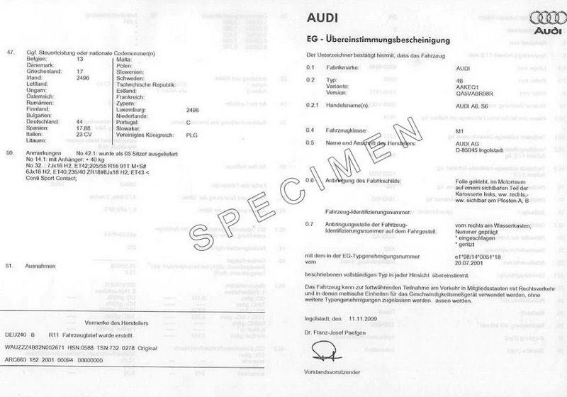 Certificat de conformité Audi