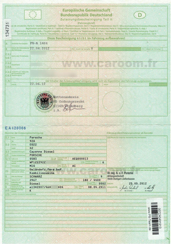Obtention d'un certificat de conformité pour voiture